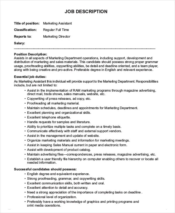 marketing assistant job description - Ozilalmanoof - marketing assistant job description