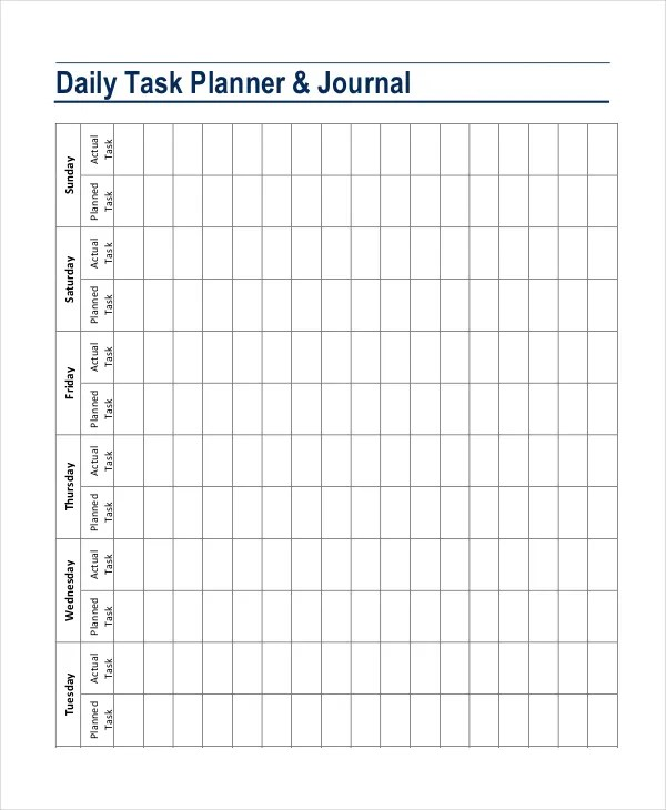 Daily Planner Template - 7+ Free PDF, PSD Documents Download Free - daily task planner template