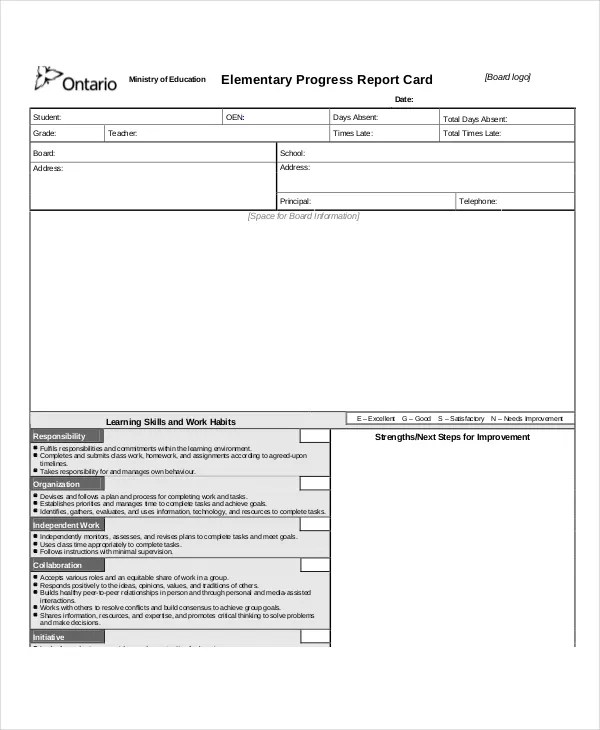 Progress Report Template - 50+ Free Sample, Example, Format Download - progress report card template