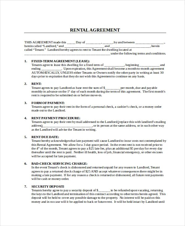 Rental Contract - 10+ Free PDF, Word Documents Download Free - writing contract agreements