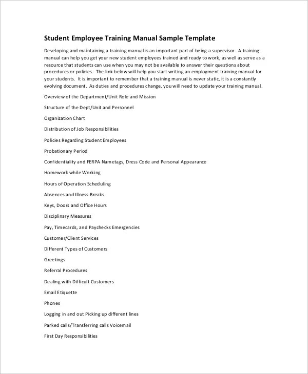 10+ Training Manual Template - Free Sample, Example, Format Free - Employee Manual Template