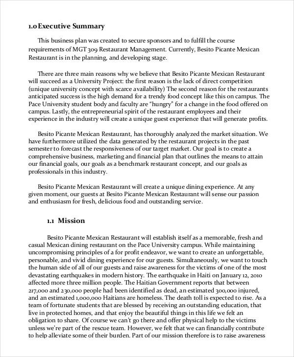 Restaurant Business Plan - 13+ PDF, Word, Google Docs Documents