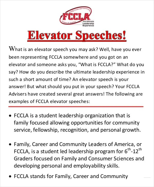 Elevator Speech Examples - 9+ Free Word, PDF Documents Download