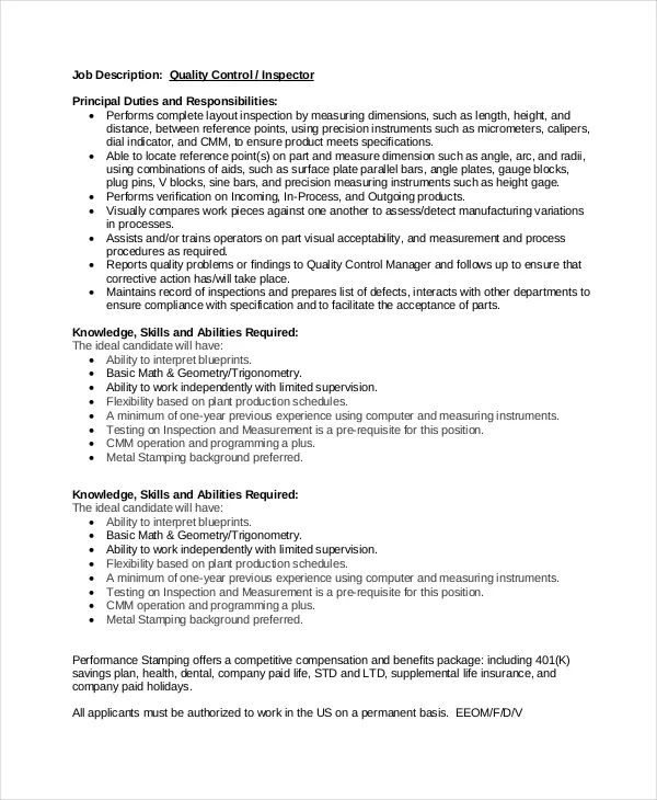 quality control operator resume