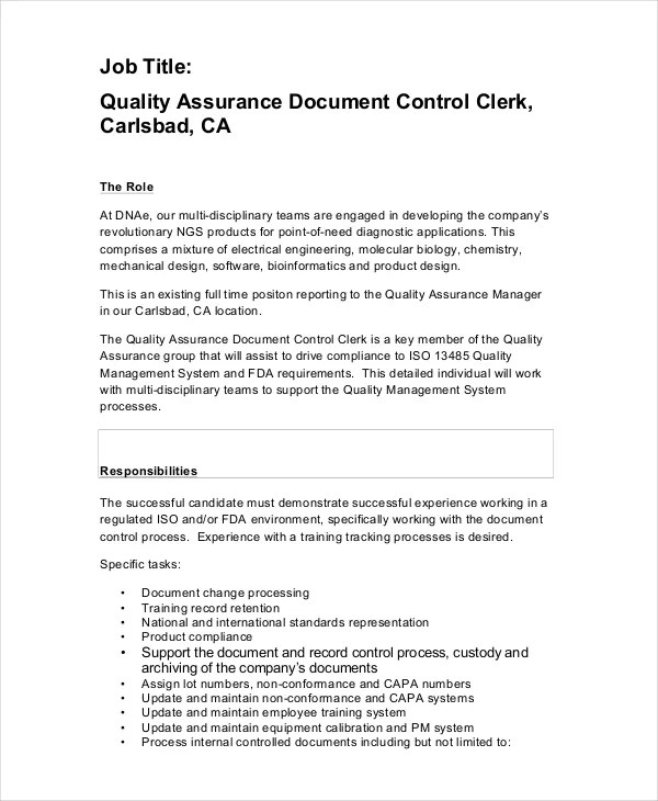 Quality Control Job Description - 11+ Free PDF, Word Documents - Quality Control Job Description