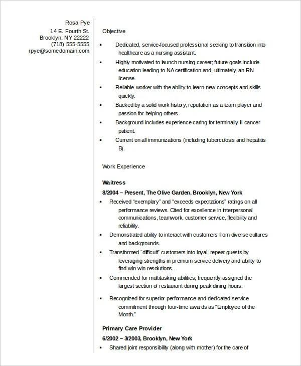 10+ Nurse Resume Templates - PDF, DOC Free  Premium Templates - resume template for nursing assistant