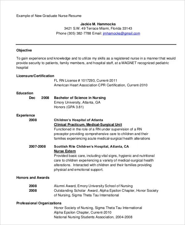 graduate nurse resume template word