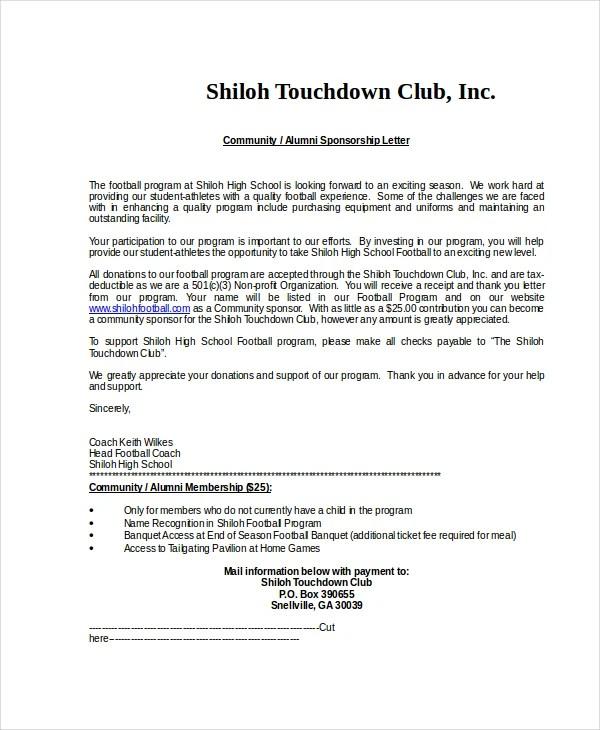 Sponsorship Letter Example - 13+ Free Word, PDF, PSD Documents - athlete sponsorship proposal template