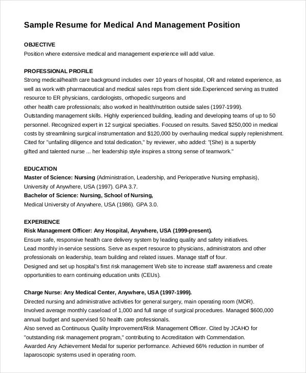 resume template charge nurse