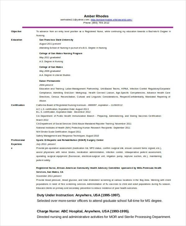 10+ Nurse Resume Templates - PDF, DOC Free  Premium Templates