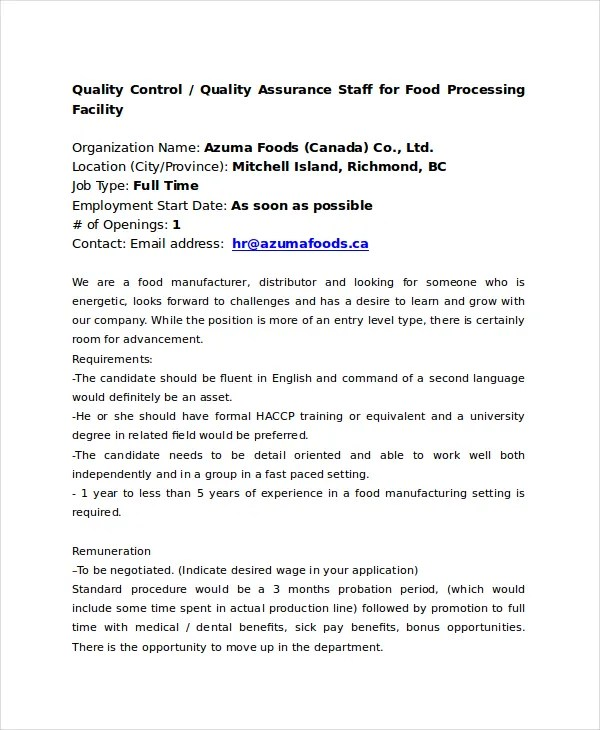 Quality Control Job Description - 11+ Free PDF, Word Documents