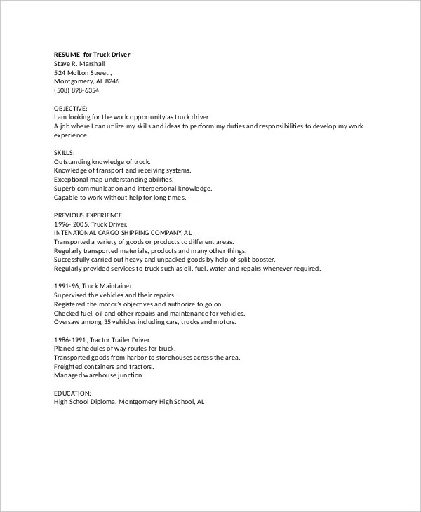 7+ Truck Driver Resume Templates - PDF, DOC Free  Premium Templates - trailer mechanic sample resume