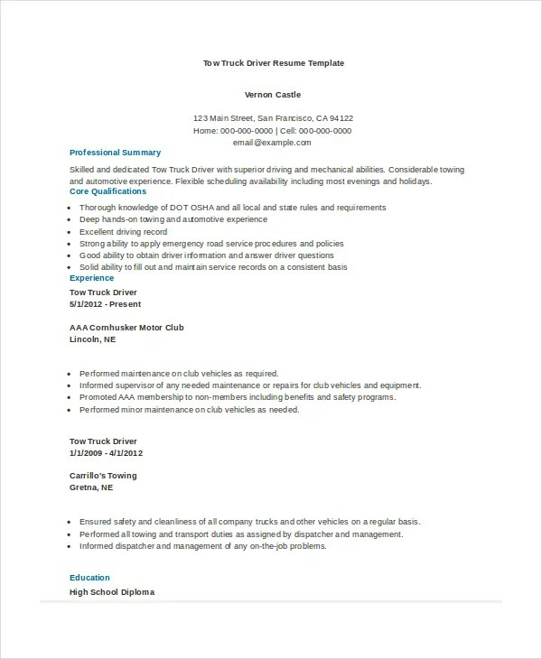 7+ Truck Driver Resumes - Free Sample, Example, Format Free - dispatcher resume sample