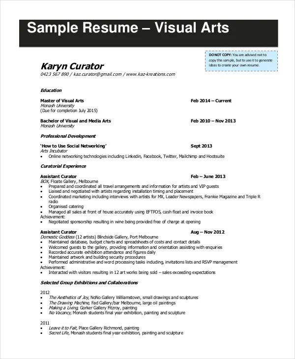 sample resume for theater arts