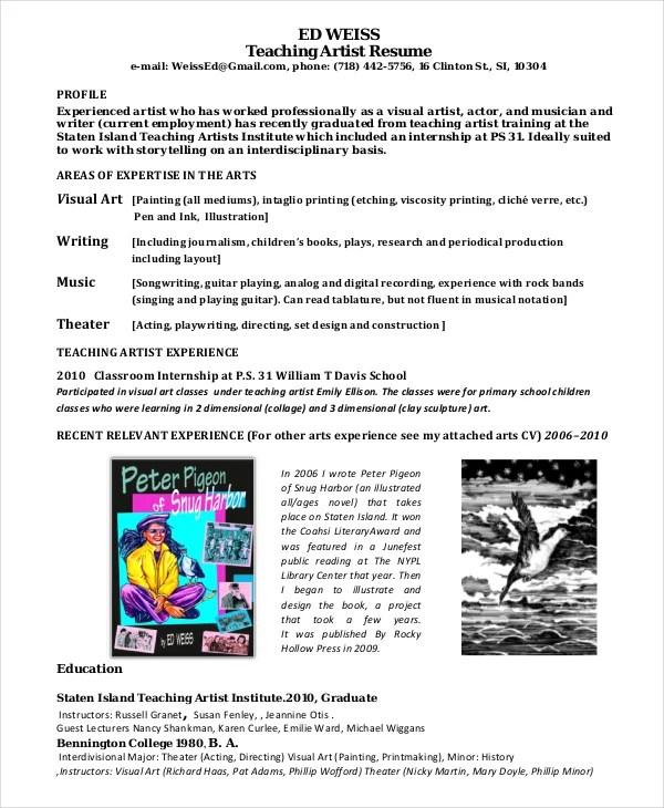 15+ Artist Resume Examples - PDF, DOC Free  Premium Templates - artist resumes