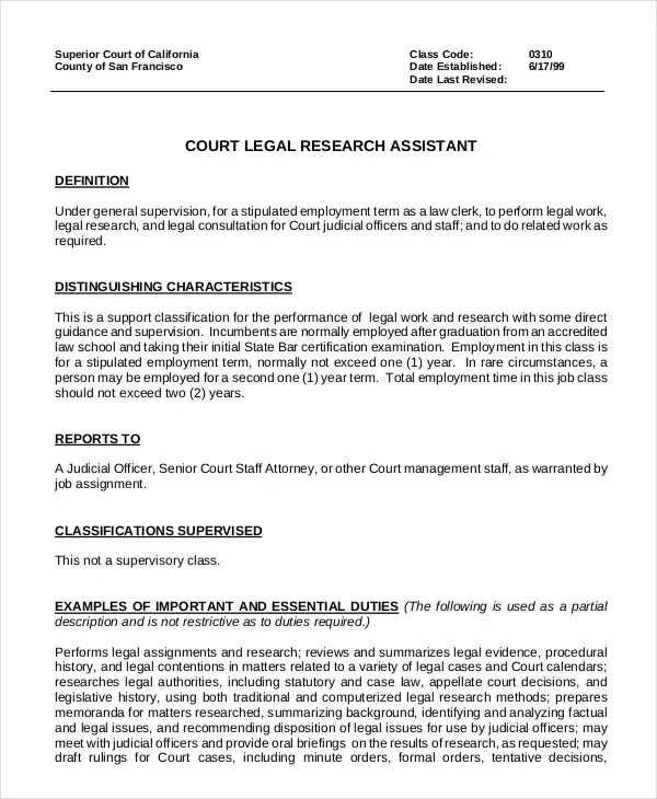 10+ Legal Assistant Job Description Templates - PDF, DOC Free