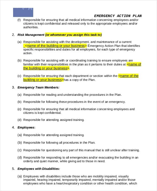 Emergency Action Plan Template - 9+ Free Sample, Example, Format - emergency action plan template