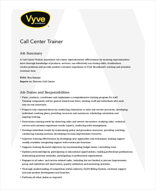 Call Center Job Description - 11+ Free Word, PDF Documents Download - call center job description