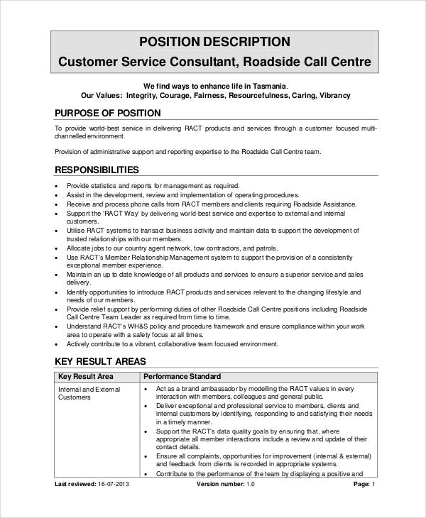 Call Center Job Description - 11+ Free Word, PDF Documents Download