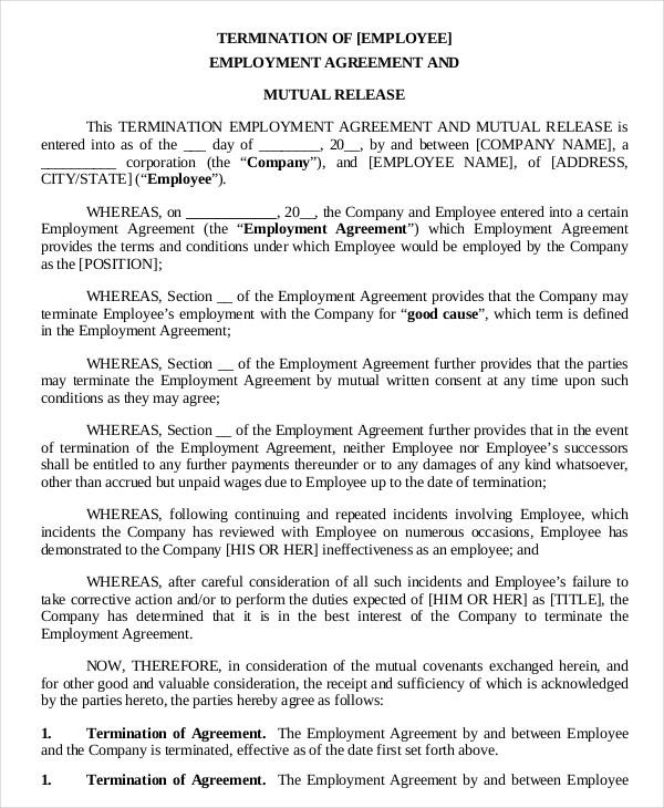 Sample Employment Agreement Employment Termination Agreement - termination contract sample