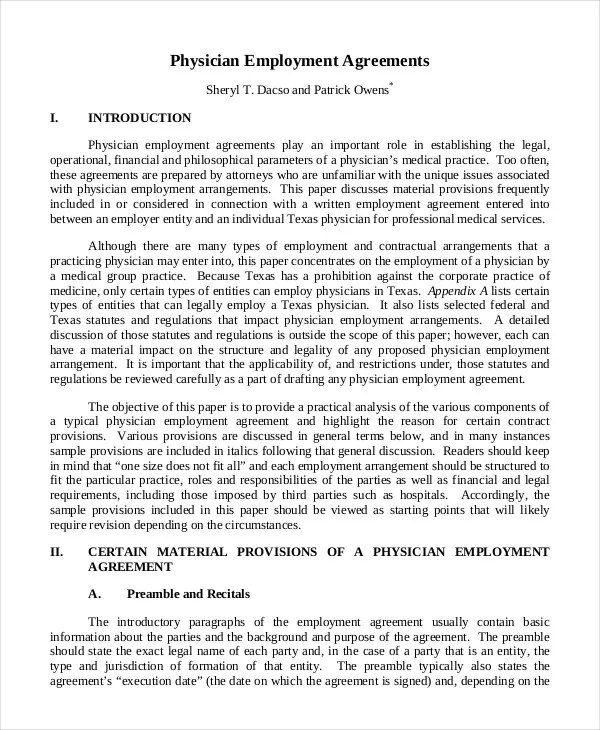 Employment Agreement Template - 9+ Free Sample, Example, Format - physician employment agreement