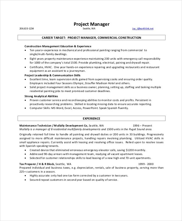 9+ Manager Resume Templates - PDF, DOC Free  Premium Templates