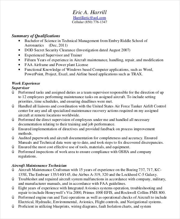 resume template for military experience