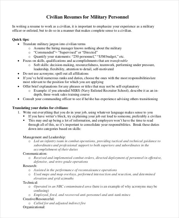 Military Resume - 8+ Free Word, PDF Documents Download Free - how to write a military resume