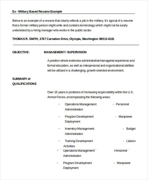 Military Resume - 8+ Free Word, PDF Documents Download Free