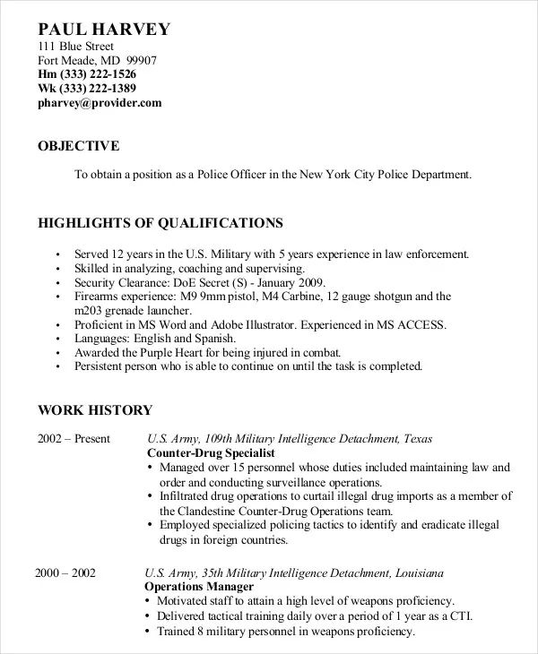 resume examples military to civilian
