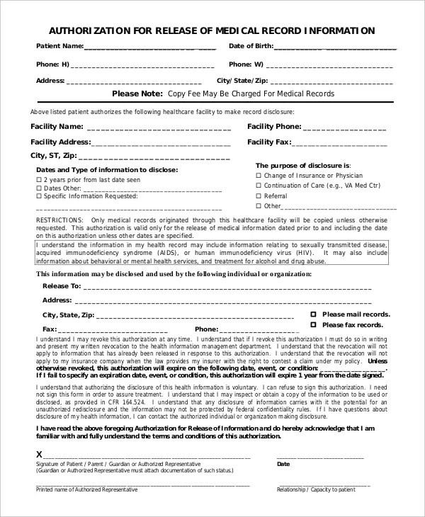 10+ Medical Release Forms - Free Sample, Example, Format Free