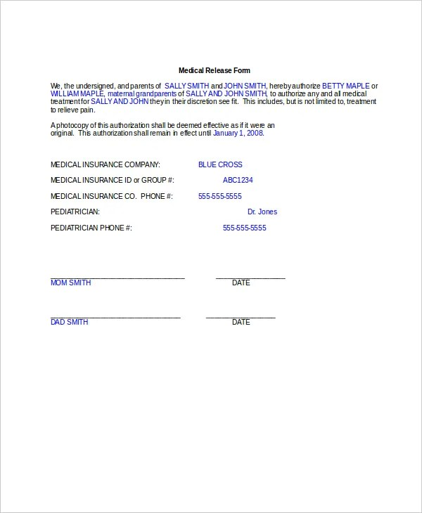 10+ Medical Release Forms - Free Sample, Example, Format Free - medical release form sample