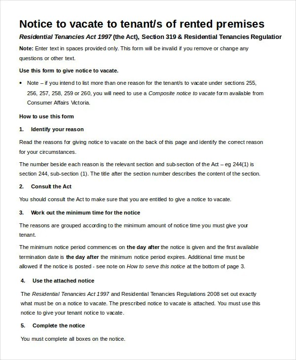 Notice To Vacate Form - 9+ Free Word, PDF Documents Download - notice to vacate template