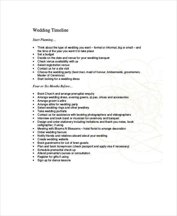 10+ Wedding Timeline Templates - Free Sample, Example, Format Free