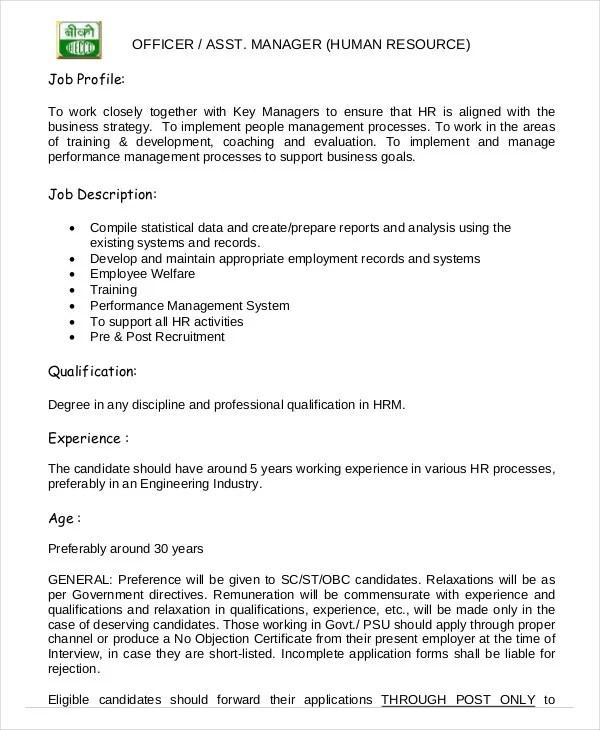 Hr Manager Job Description - 8+ Free Sample, Example, Format - assistant manager job description