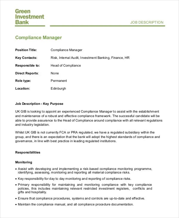 Hr Manager Job Description - 8+ Free Sample, Example, Format Free