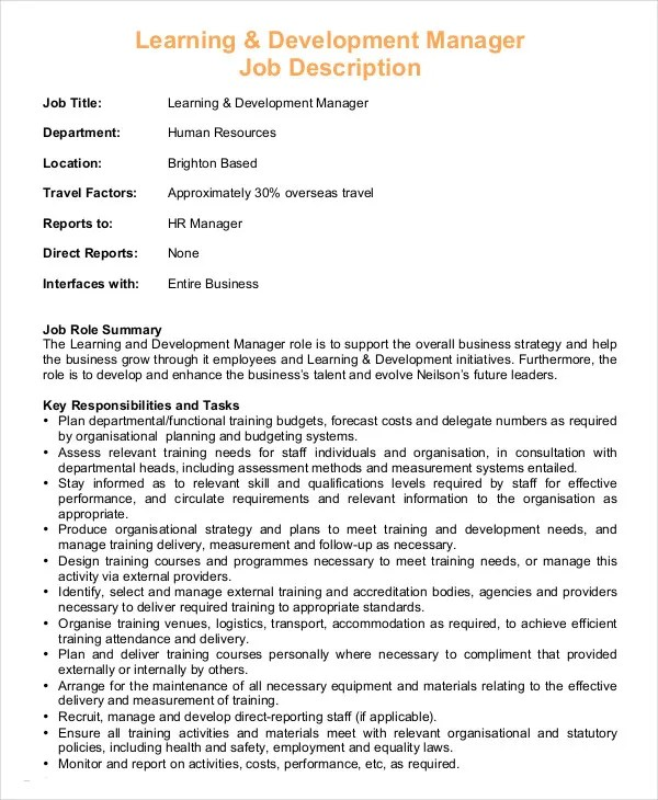 Hr Manager Job Description - 8+ Free Sample, Example, Format Free - human resource job description