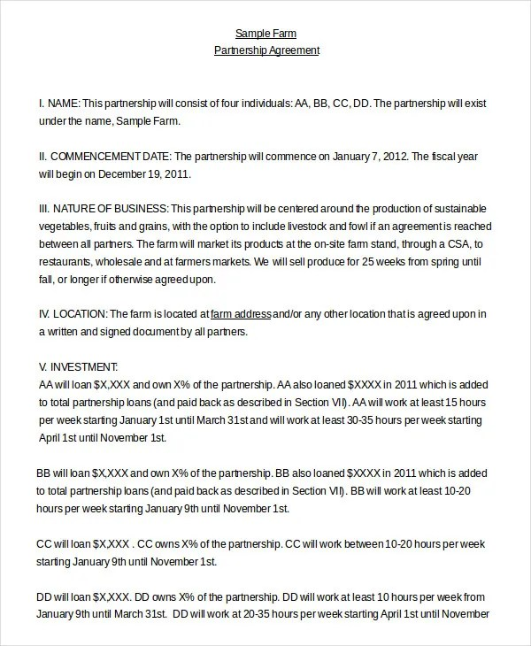 Partnership Agreement - 11+ Free Word, PDF Documents Download Free