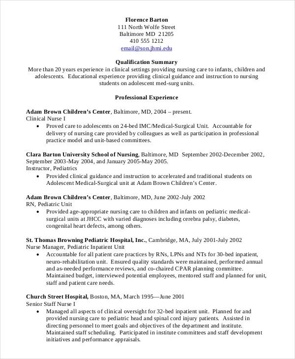 nursing informatics resume template