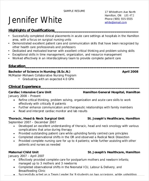 Nursing Student Resume Example - 10+ Free Word, PDF Documents - nursing student resume examples