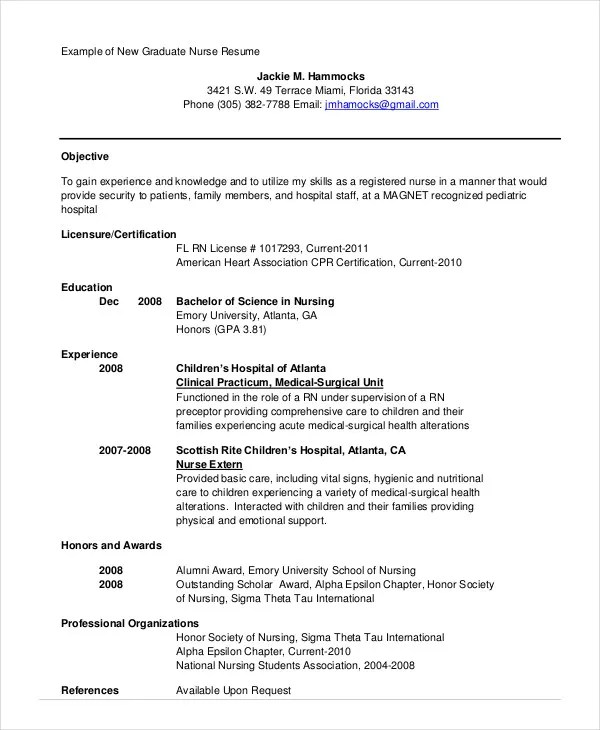 Nursing Student Resume Example - 10+ Free Word, PDF Documents - new grad nursing resume