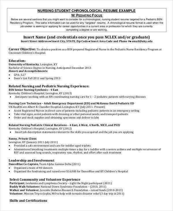 resume format for nursing student