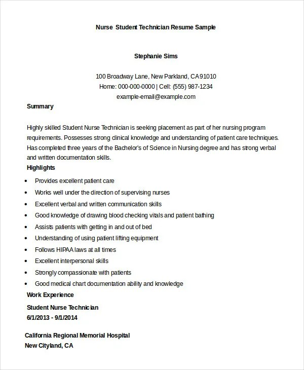 Nursing Student Resume Example - 10+ Free Word, PDF Documents - sample resume for a nurse