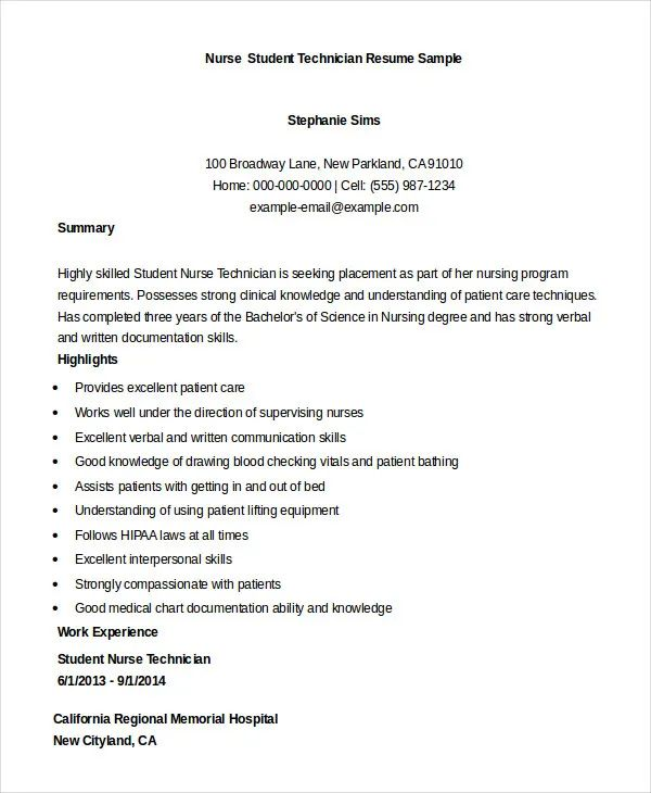 resume format for nursing student
