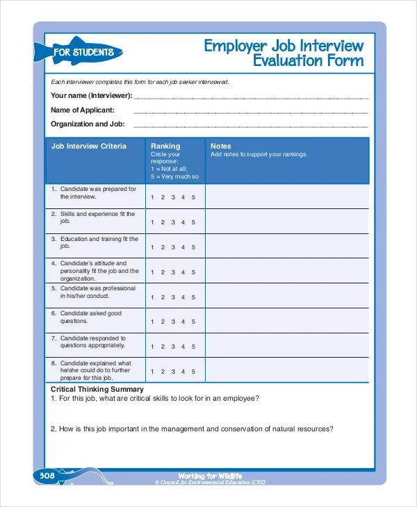 Employee Evaluation Form Example - 13+ Free Word, PDF Documents - Sample Interview Evaluation