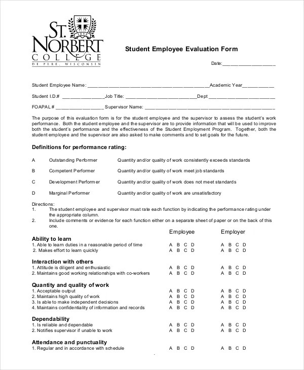 Employee Evaluation Form Example - 11+ Free Word, PDF Documents - performance evaluation forms free