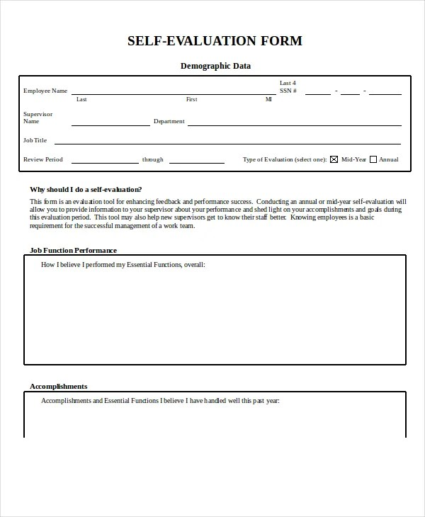 Employee Evaluation Form Example - 11+ Free Word, PDF Documents - employee self evaluation form