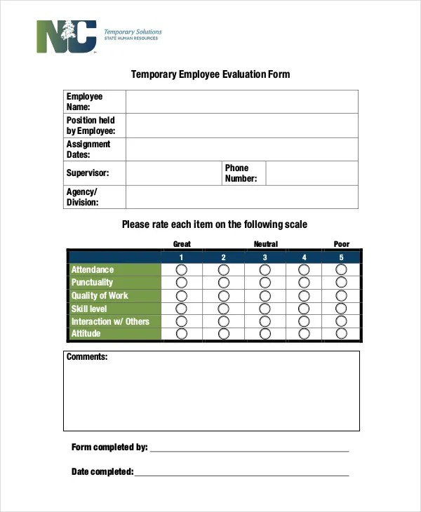 Employee Evaluation Form Example - 11+ Free Word, PDF Documents - employee evaluation form example