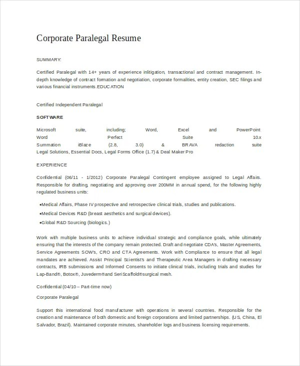 corporate paralegal resume - 28 images - corporate paralegal resume