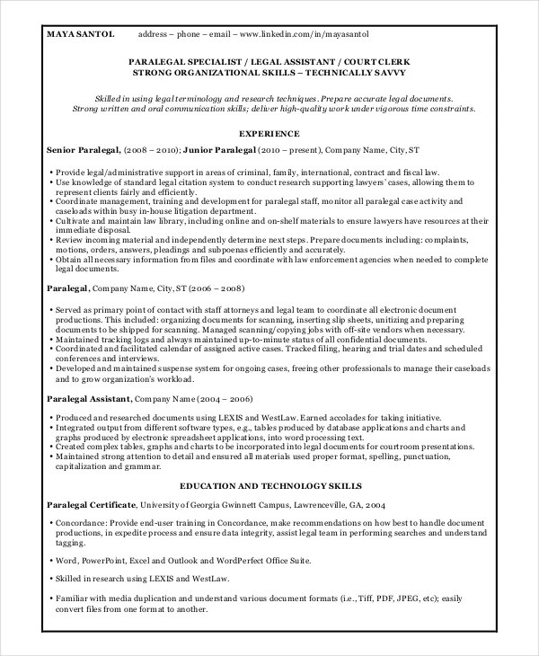 9+ Paralegal Resume Templates - PDF, DOC Free  Premium Templates - paralegal assistant sample resume